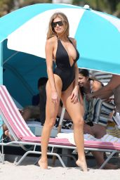 Charlotte McKinney in Black Swimsuit at the Beach With Her Friend - Miami 2/17/ 2017