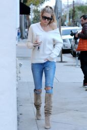 Charlotte McKinney in Ripped Jeans - Grabbed Coffee in West Hollywood, January 2017