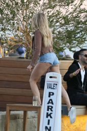 Charlotte McKinney in Short Jeans Shorts at Soho House in Malibu 2/12/ 2017