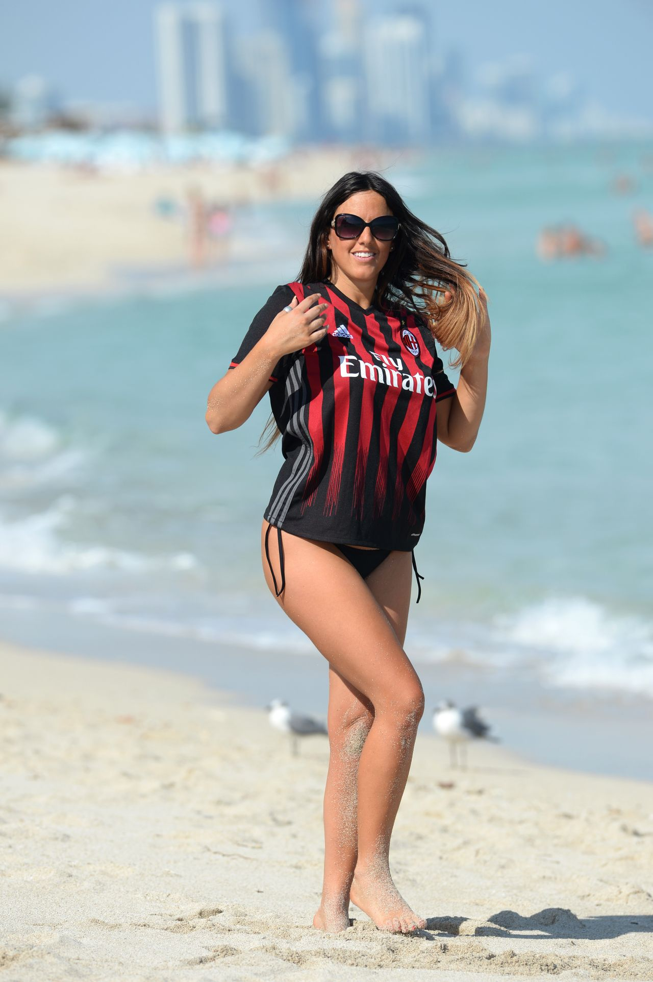 Claudia Romani Wearing Her Ac Milan Jersey Beach In