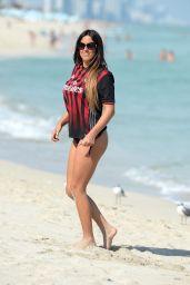 Claudia Romani Wearing Her AC Milan Jersey - Beach in Miami, January 2017