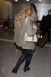 Elizabeth Hurley Travel Outfit - LAX Airport in Los Angeles 2/20/ 2017