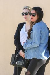Emma Roberts and Lea Michele - Bouchon in Beverly Hills 1/31/ 2017