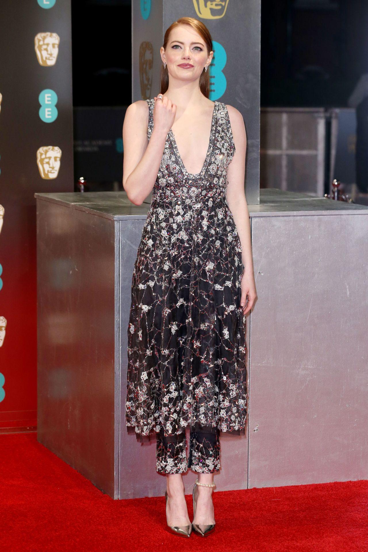 Emma Stone On Red Carpet At Bafta Awards In London Uk 2