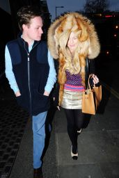 Georgia Toffolo Wraps Up Warm in a Big Fur Hood - Leaves the Ivy Chelsea Gardens in London 2/6/ 2017