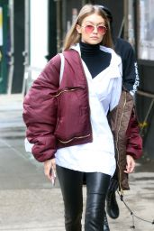 Gigi Hadid Casual Style - Out in New York City 2/11/ 2017