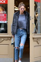 Gigi Hadid in Ripped Jeans - Leaving Blick Art Materials in Manhattan, NYC 2/3/ 2017