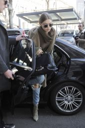 Gigi Hadid in Ripped Jeans - Out in Milan, Italy 2/21/ 2017
