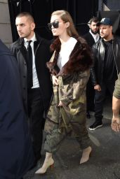 Gigi Hadid Rocks a Camouflage Coat - Milan Fashion Week in Milan 2/25/ 2017