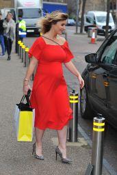 Helen Skelton in Red Dress - Leaving ITV Studios in London 2/21/ 2017