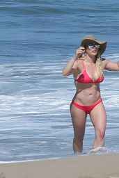 Hilary Duff in Red Bikini on the Beach in Mexico 2/4/ 2017