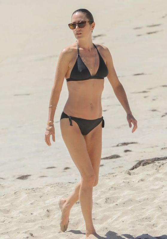 Jennifer Connelly in Black Bikini at a Beach in St Barts 2/19/ 2017