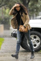 Jessica Gomes - Out in the Rain in Beverly Hills 2/19/ 2017