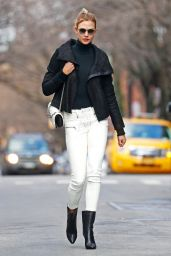 Karlie Kloss Wearing Black Leather Cropped Coat and White Skinny Jeans, NYC 2/16/ 2017