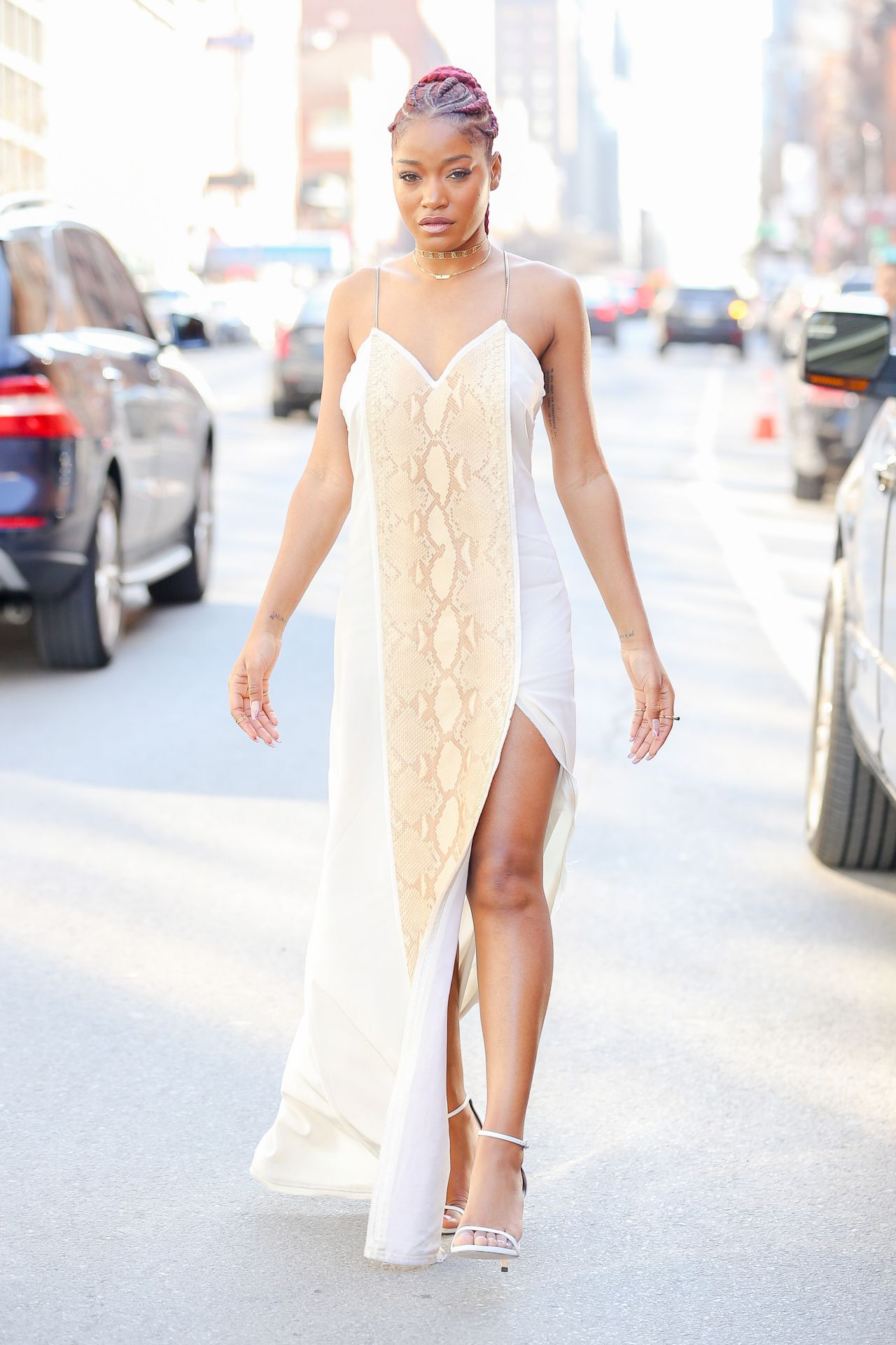 Keke Palmer - Looks Radiant in a White Snakeskin Print Gown With ...