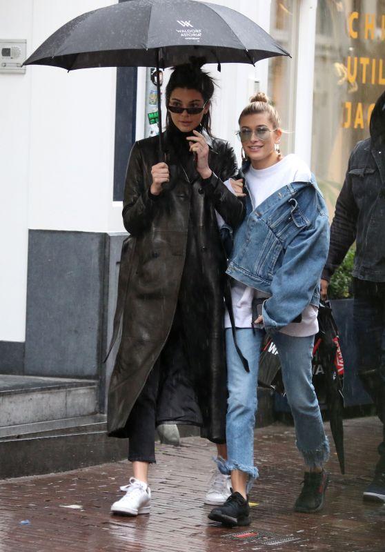 Kendall Jenner & Hailey Baldwin - Shopping in the Rain in Amsterdam 2/27/ 2017