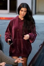 Kourtney Kardashian - Bares Her Legs in an Oversized Hoodie in Calabasas 2/7/ 2017