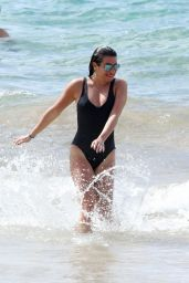 Lea Michele in Black Swimsuit at a Beach in Hawaii 2/21/ 2017