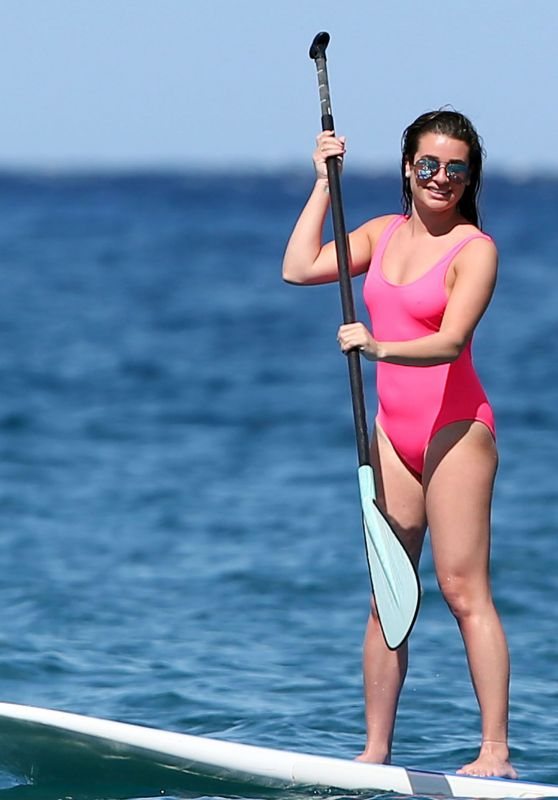 Lea Michele Paddle Boards in Hawaii 2/23/ 2017