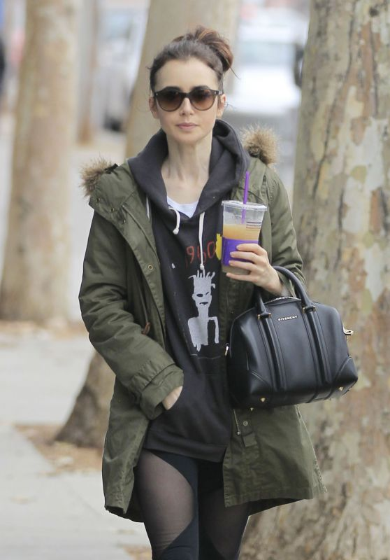 Lily Collins - Enjoys an Iced Beverage While Out For a Walk, Beverly Hills 2/5/ 2017