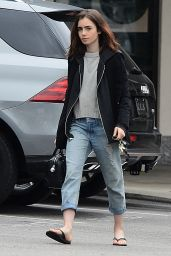 Lily Collins - Leaves a Nail Salon in West Hollywood 2/20/ 2017