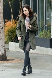 Lily Collins Street Style - Out in LA 2/20/ 2017