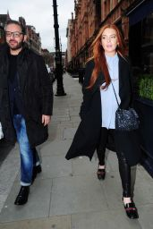 Lindsay Lohan Casual Style - Out in London 2/21/ 2017