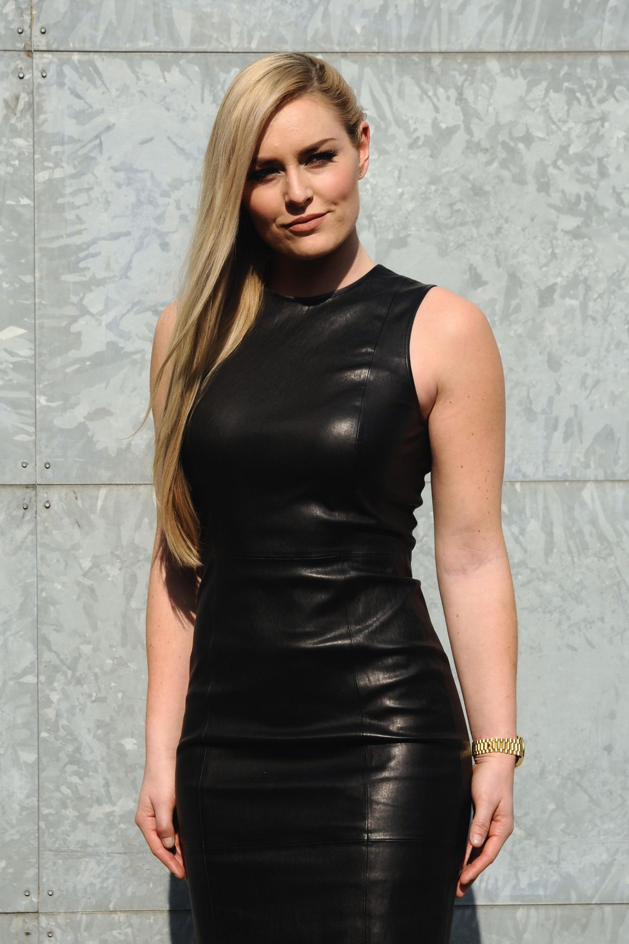 Lindsey Vonn Milan Fashion Week. Sexy black leather dress