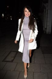 Lizzie Cundy in Gray Dress for Promises Promises: The Musical at London