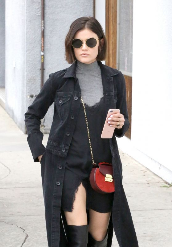 Lucy Hale Showcasing Her New Bob Haircut - West Hollywood 2/21/ 2017