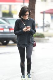 Lucy Hale - Wearing Clear Glasses on a Gloomy Day in Los Angeles 2/20/ 2017