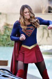 Melissa Benoist - Filming Supergirl in Vancouver 2/24/ 2017
