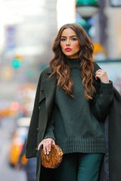 Olivia Culpo in a Stylish Olive Outfit - Manhattan 2/20/ 2017