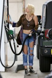 Paris Jackson in Ripped Jeans and Skimpy Top - At a Gas Station in LA 2/5/ 2017