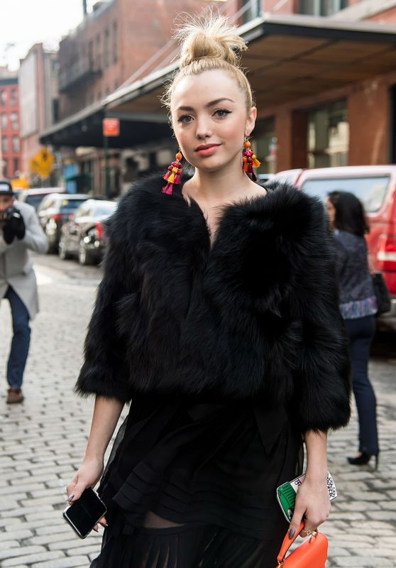 Peyton List Arriving to the Carolina Herrera Collection Show in New York 2/13/ 2017