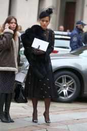 Rita Ora at Memorial Service for Franca Sozzani in Milan 2/27/ 2017
