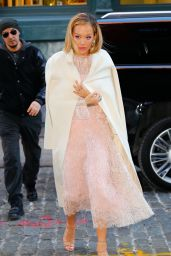 Rita Ora in a Rose Colored Dress in New York City 2/6/ 2017