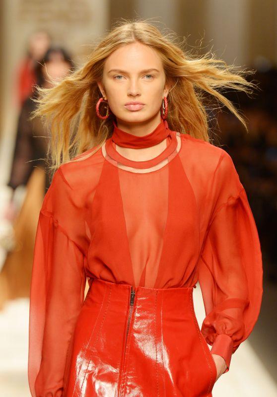 Romee Strijd Walks FENDI Show at Milan Fashion Week 2/23/ 2017