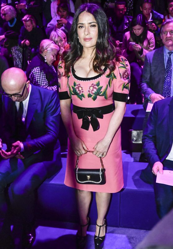 Salma Hayek at Milan Fashion Week - Gucci Show 2/22/ 2017