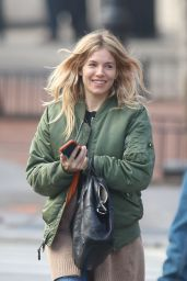 Sienna Miller Street Style - Steps Out in the East Village, NYC 2/8/ 2017