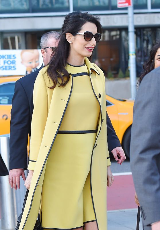 Amal Cloone in Bright Yellow - Head to the U.N. 3/9/ 2017