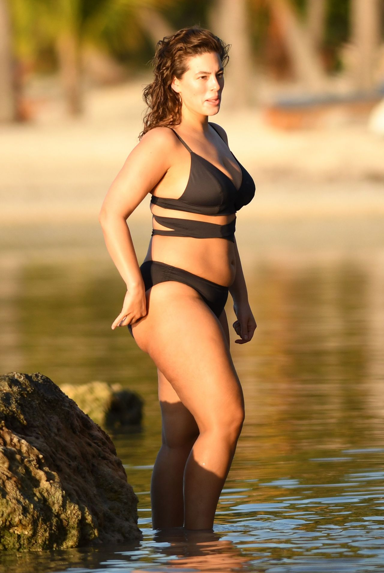 Ashley Graham In A Black Bikini On The Beach In Islamorada