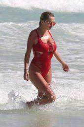Caroline Vreeland in Red Swimsuit at Tulum Beach, Mexico 3/26/2017