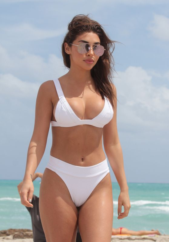 Chantel Jeffries in White Bikini at Miami Beach 3/25/ 2017