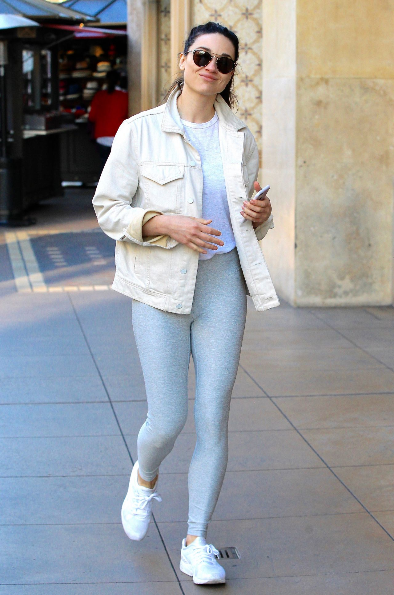 Crystal Reed Showing Off Her Fit Figure In A Pair Of Grey