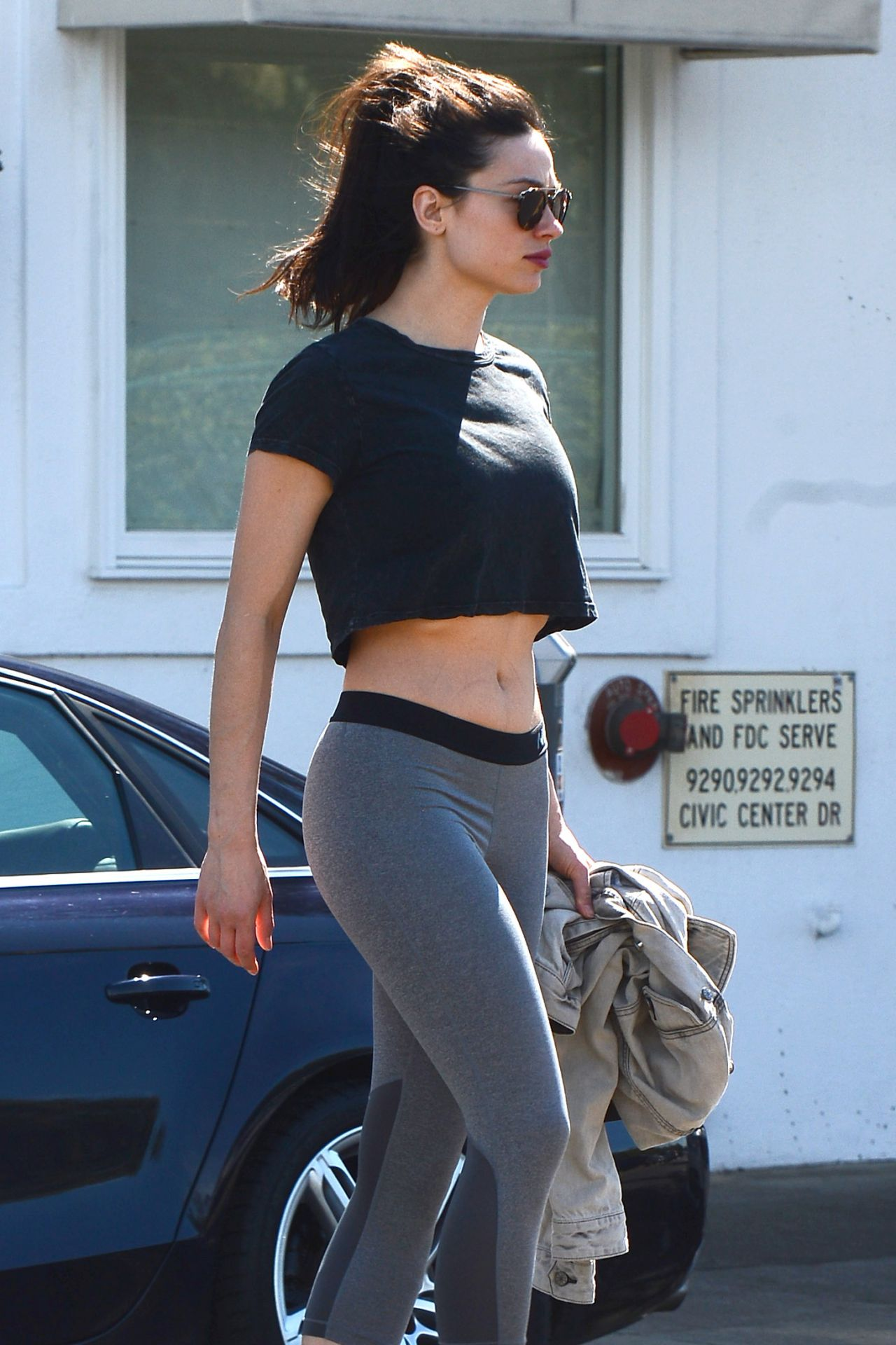 Crystal Reed Wearing A Crop Top Out In La 3 7 2017