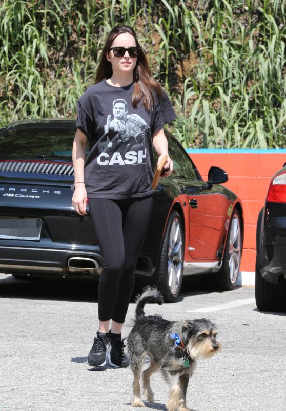 Dakota Johnson With Her Dog - Out in Los Angeles 03/26/2017