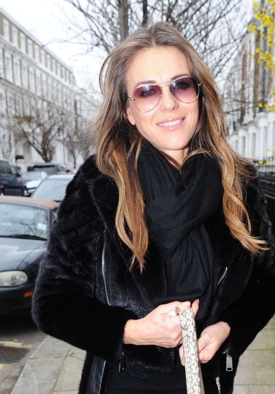 Elizabeth Hurley - Arriving Home After Lunch at Scotts Restaurant in London 3/14/ 2017
