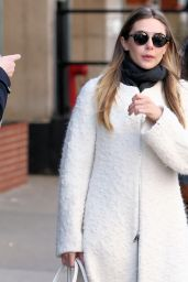 Elizabeth Olsen in a White Full-Length Coat - NYC 3/20/ 2017