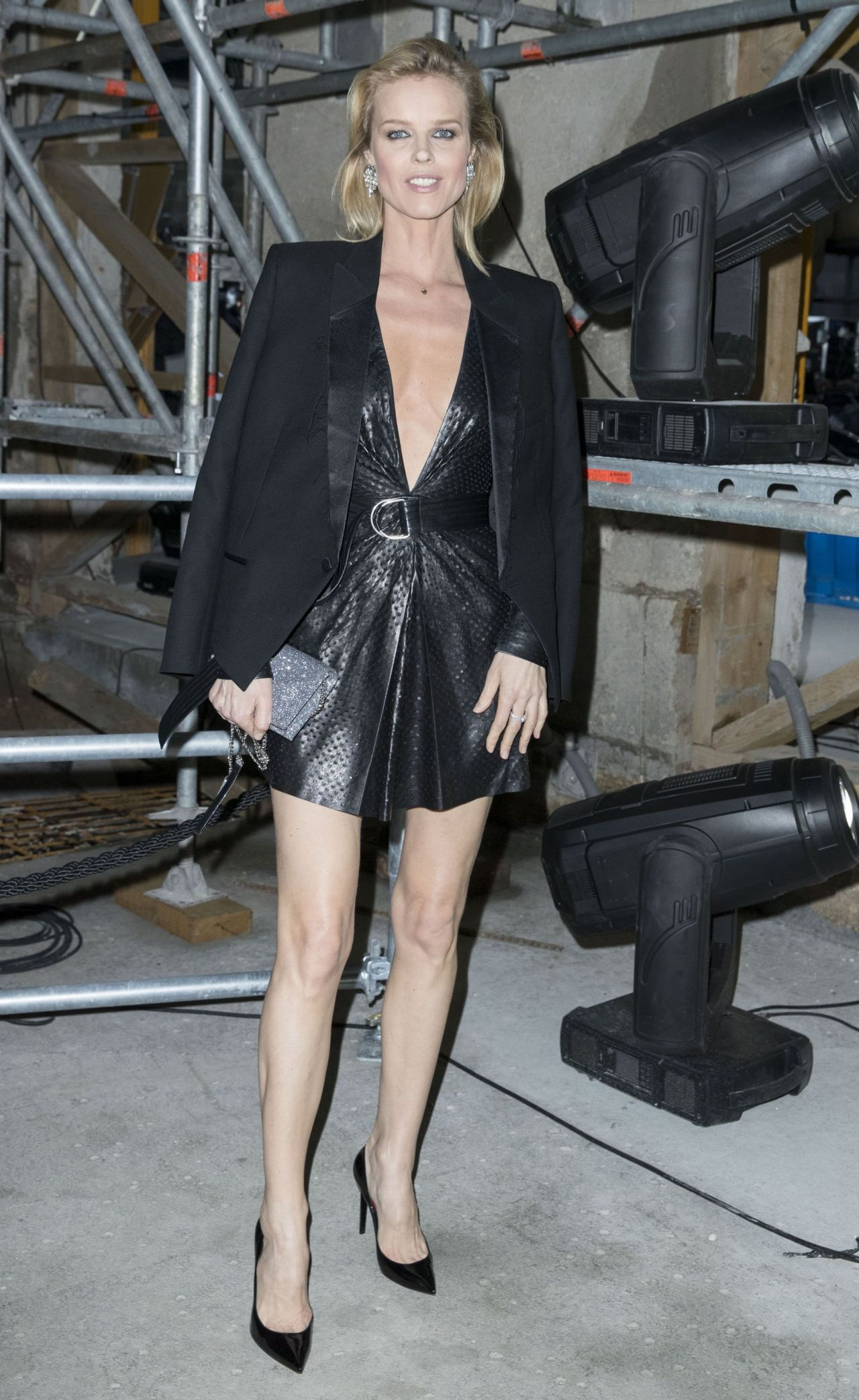 Eva Herzigova At Paris Fashion Week Saint Laurent Show